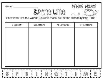 Spring Time Making Words
