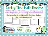 Spring Time Math Review - Decimals, Integers, Order of Operations, and more!
