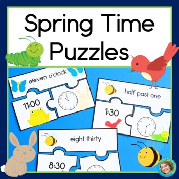 Spring Time Puzzles Telling Time to the Hour & Half Hour