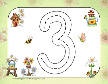 Spring Time Race to Trace Numbers 1 tro 20 (Common Core)