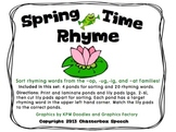 Spring Time Rhyme! Sorting rhyming families (-ig, -ug, -op, -at)