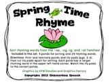 Spring Time Rhyme! Sorting rhyming families (-ig, -ug, -op, -at)