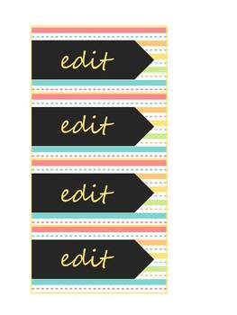 Spring Time Stripes Teacher Toolbox Labels
