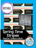 Spring Time Stripes Teacher Toolbox Labels