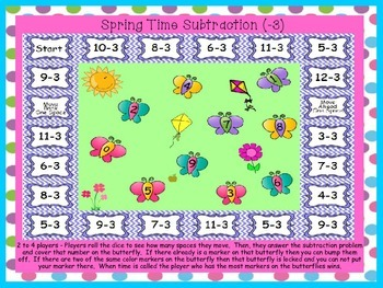 Spring Time Subtraction Facts Games (-0) to (-9)