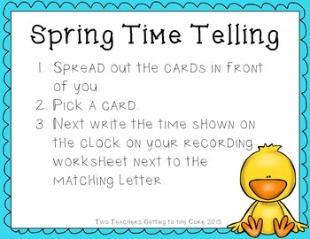 Spring Time Telling Math Center