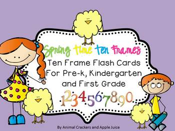 Spring Time Ten Frame Flash Cards with Recording Sheets