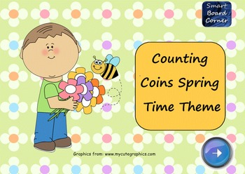 Spring Time Theme Counting Coins SMART Board Lesson on Money