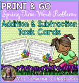 Spring Time Word Problem Task Cards: Sums to 100