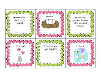 "Spring Time ""what"" and ""where"" questions- Freebie"