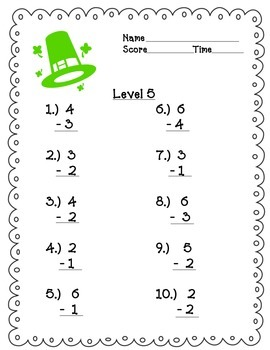 Spring Timed Math Tests Single Digit Addition and Subtraction