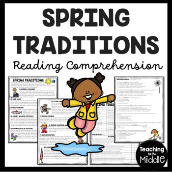 Spring Traditions reading comprehension worksheet, non-fiction, vocabulary