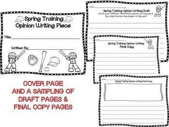 Spring Training--Baseball--Opinion Writing--Piece Pack--Common Core Aligned