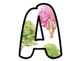 Spring Trees Bulletin Board Letters, Classroom Décor, Alphabet Posters