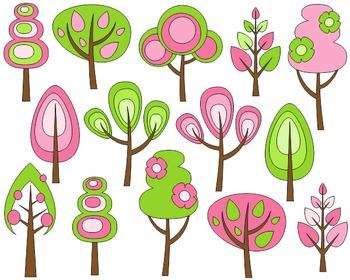 Spring Trees Clip Art Set