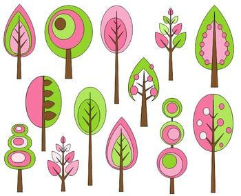 Spring Trees Clip Art Set