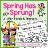 Spring Trigraph 3-Letter Blends Word Work No Prep