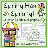 Spring Trigraph 3-Letter Blends Word Work No Prep