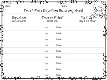 True or False Equations 1.OA.7: Spring