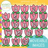 Spring Tulip Number Tiles Clip Art {MOVEABLE IMAGES}
