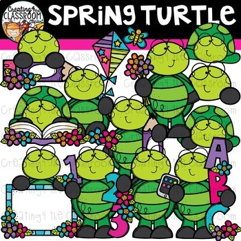 Spring Turtle Clipart {Spring Clipart}