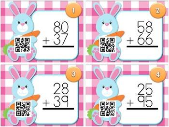 Spring Two-Digit Addition QR Code Task Card Fun