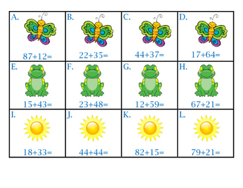 Spring Two Digit Addition with Regrouping