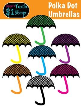 Spring * Umbrella Clipart * Polka Dot * Rainy Days