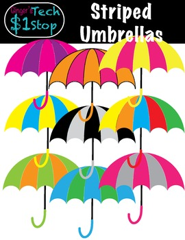 Spring * Umbrella Clipart * Striped * Rainy Days