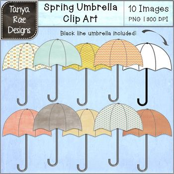 Spring Umbrella Digital Clip Art