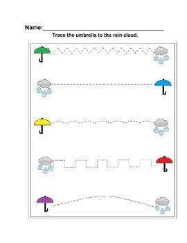 Spring Umbrella Handwriting Worksheet Freebie