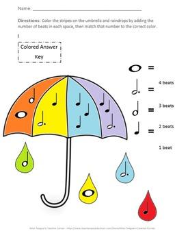Spring Umbrella Music Notes: Math Coloring Sheet