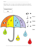 Spring Umbrella Music Notes: Math Coloring Sheet