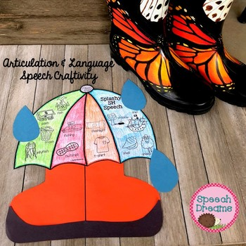 Spring Umbrella Speech Therapy Craft {articulation craftivity} Rainy Day