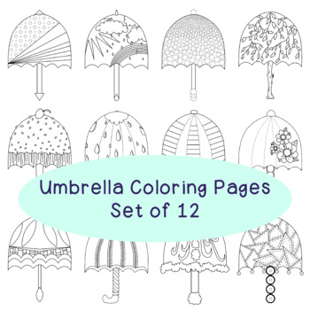Spring Umbrellas Coloring Pages PDF Printable Set of Four