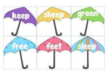 Spring Umbrellas Vowel Teams-Write the Room