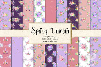 Spring Unicorn Digital Paper, pastel rainbow background patterns