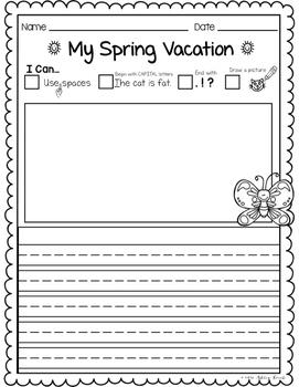 Spring Vacation Writing