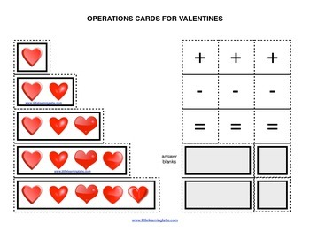 Spring Valentines hearts operations cards prek primary math addition subtraction