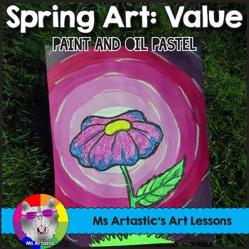 Spring Art Lesson, Flower Value Painting