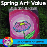 Spring Art Lesson, Flower Value Painting