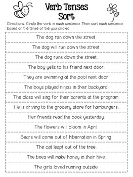 Spring Verb Tenses Sort