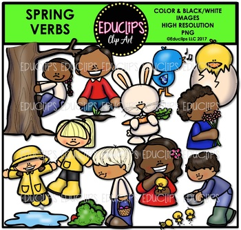 Spring Verbs Clip Art Bundle {Educlips Clipart}