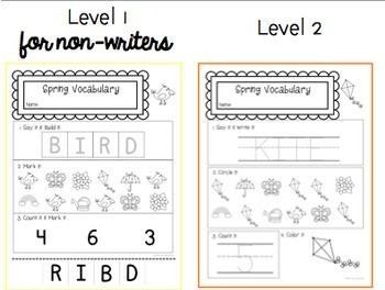 Spring Vocab Worksheets: Special Ed or Early Elementary No Prep Printable Pack