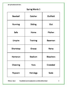Spring Vocabulary Builders