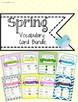 Spring Themes and Holidays Vocabulary Card Bundle