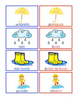 Spring Vocabulary Cards Dual Language