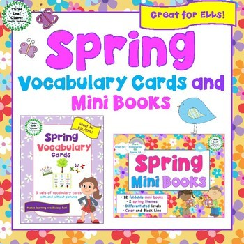 Spring Vocabulary Cards and Mini Books BUNDLE