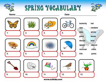 Spring Vocabulary Identify Worksheet