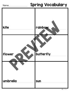 Spring Vocabulary Match and Write